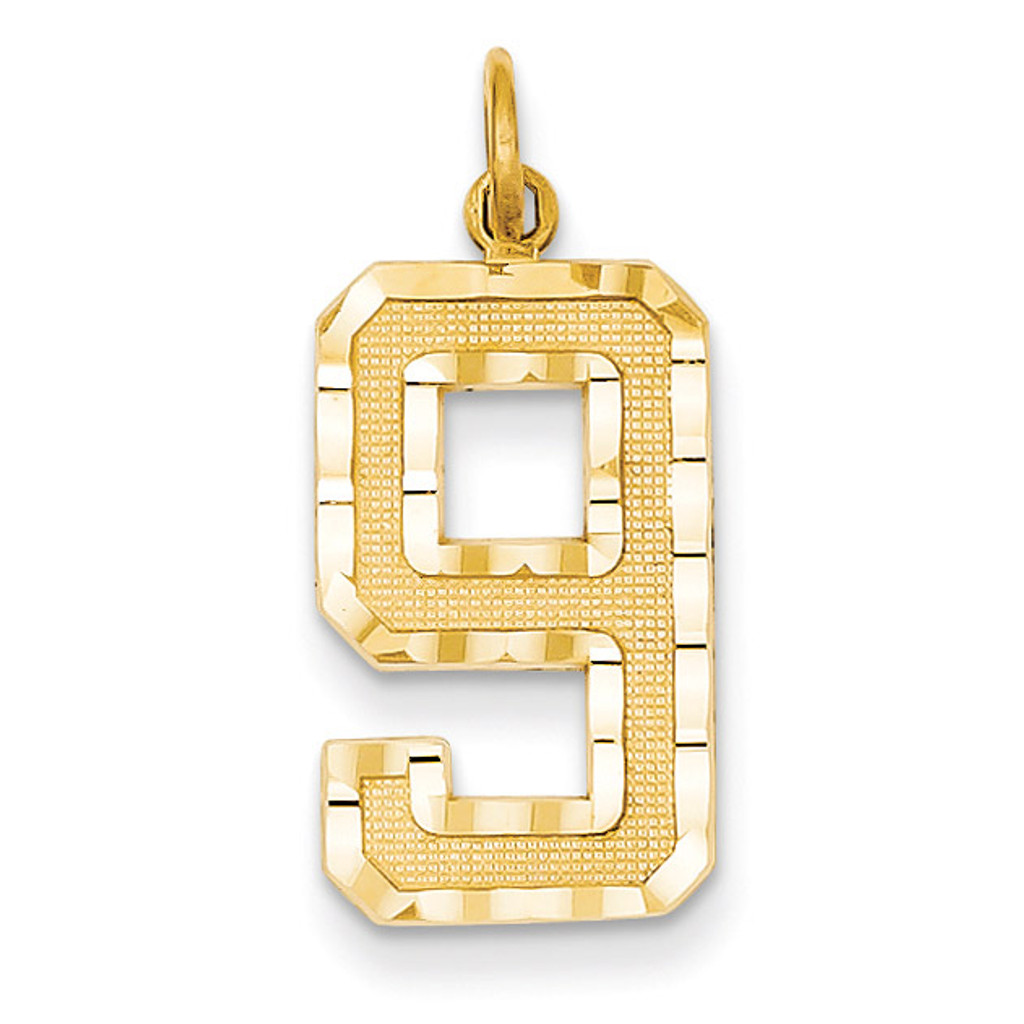 Casted Large Diamond Cut Number 9 Charm 14k Gold LN09