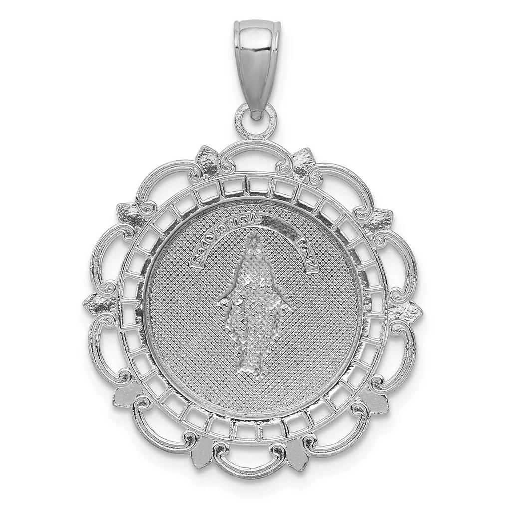 Blessed Mary Medal 14k White Gold M2298