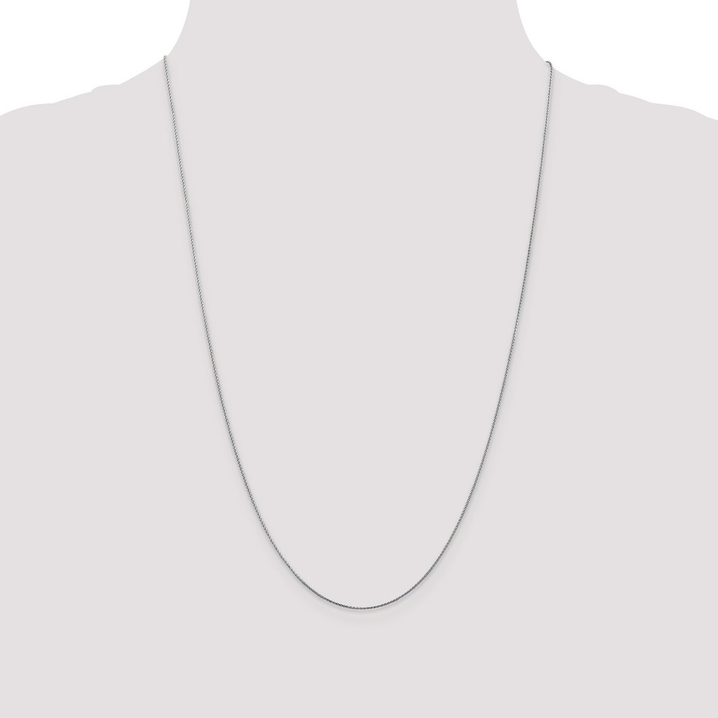 0.65mm Diamond-cut Spiga Pendant Chain 24 Inch 14k White Gold PEN153-24