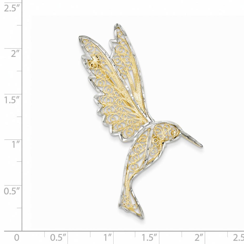 Diamond Cut Filigree Hummingbird Pin 14K Gold & Rhodium PIN168