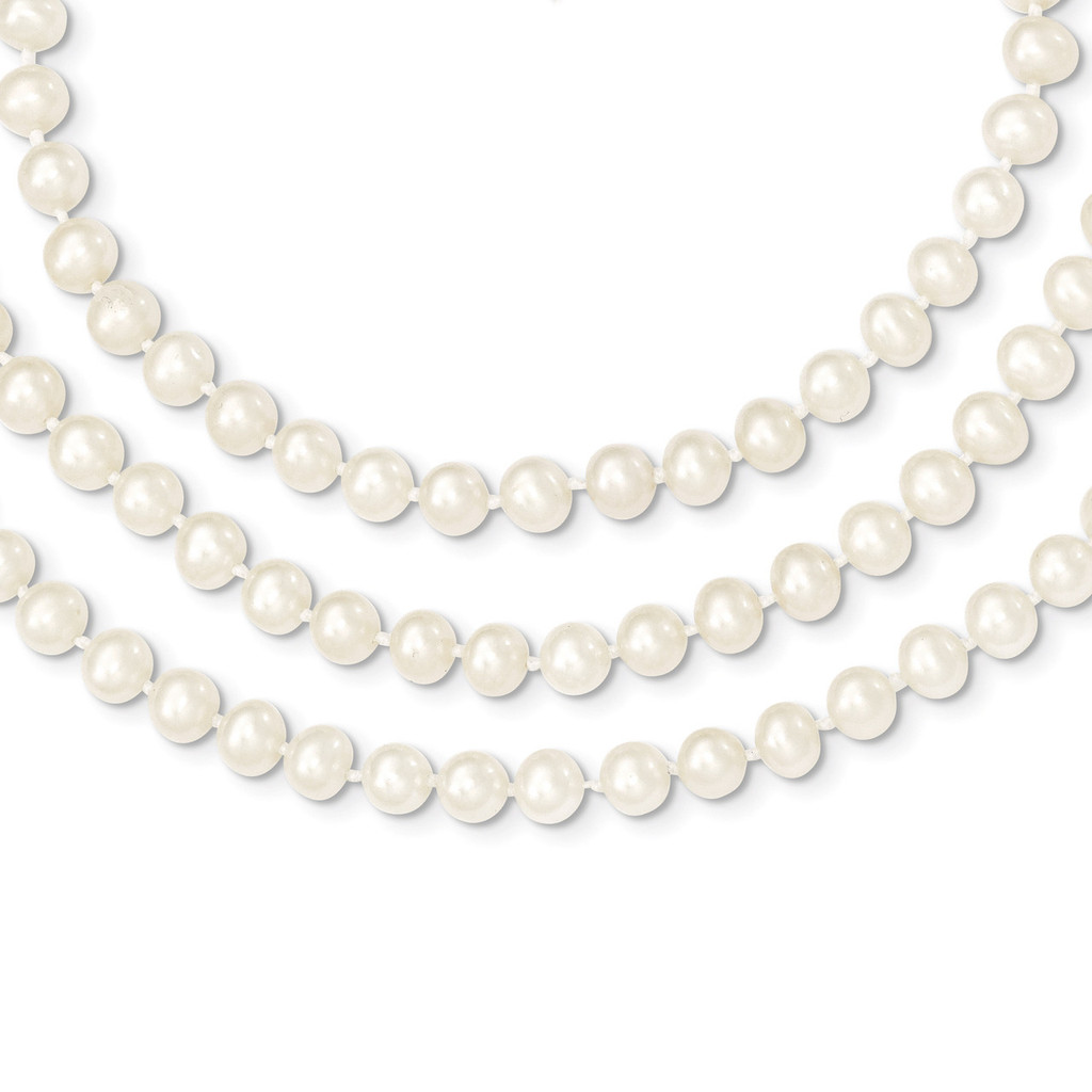 6-6.5mm 3 Strand Cultured Pearl Necklace 18 Inch 14k Gold PR10-18