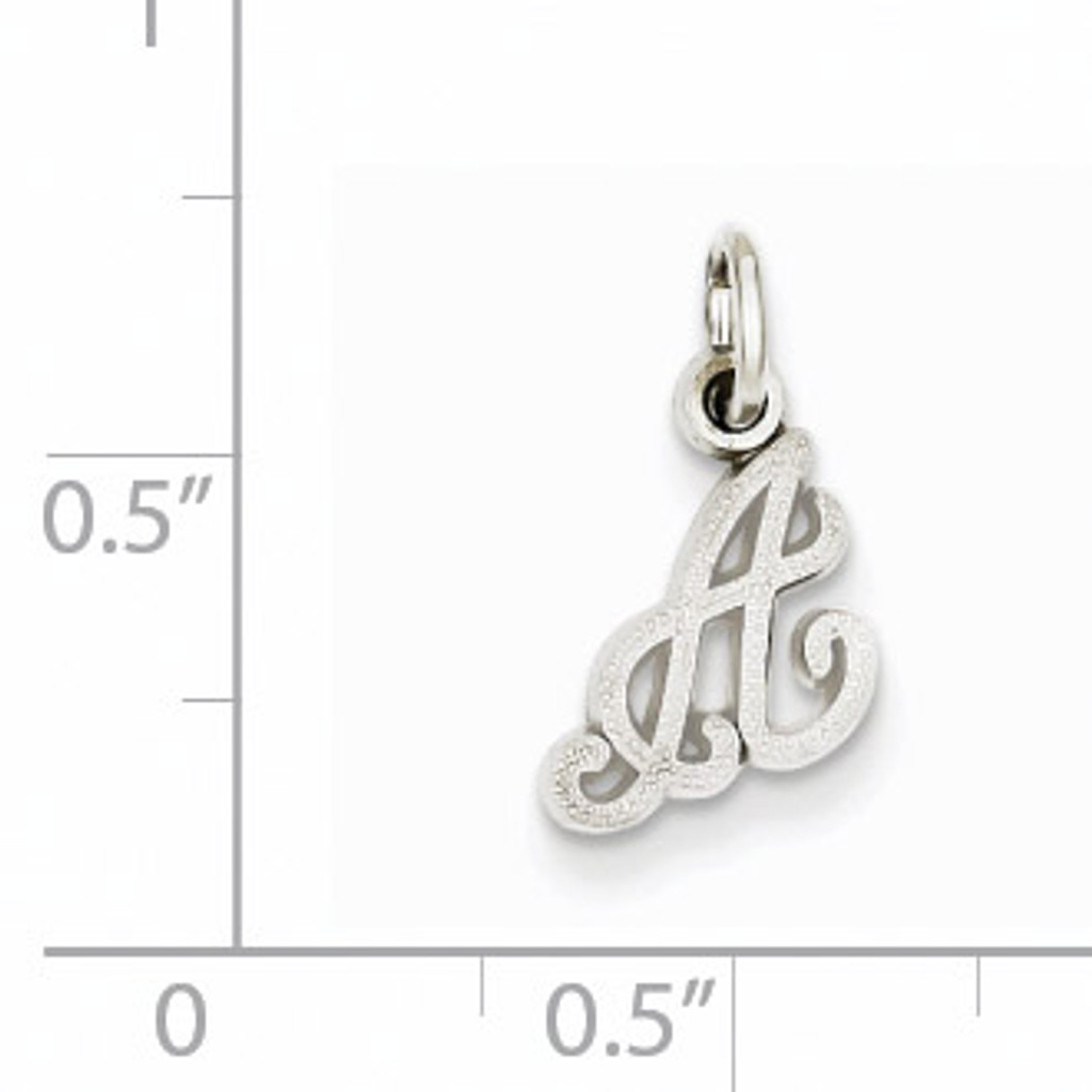Casted Initial A Charm 14k White Gold WCH138-A