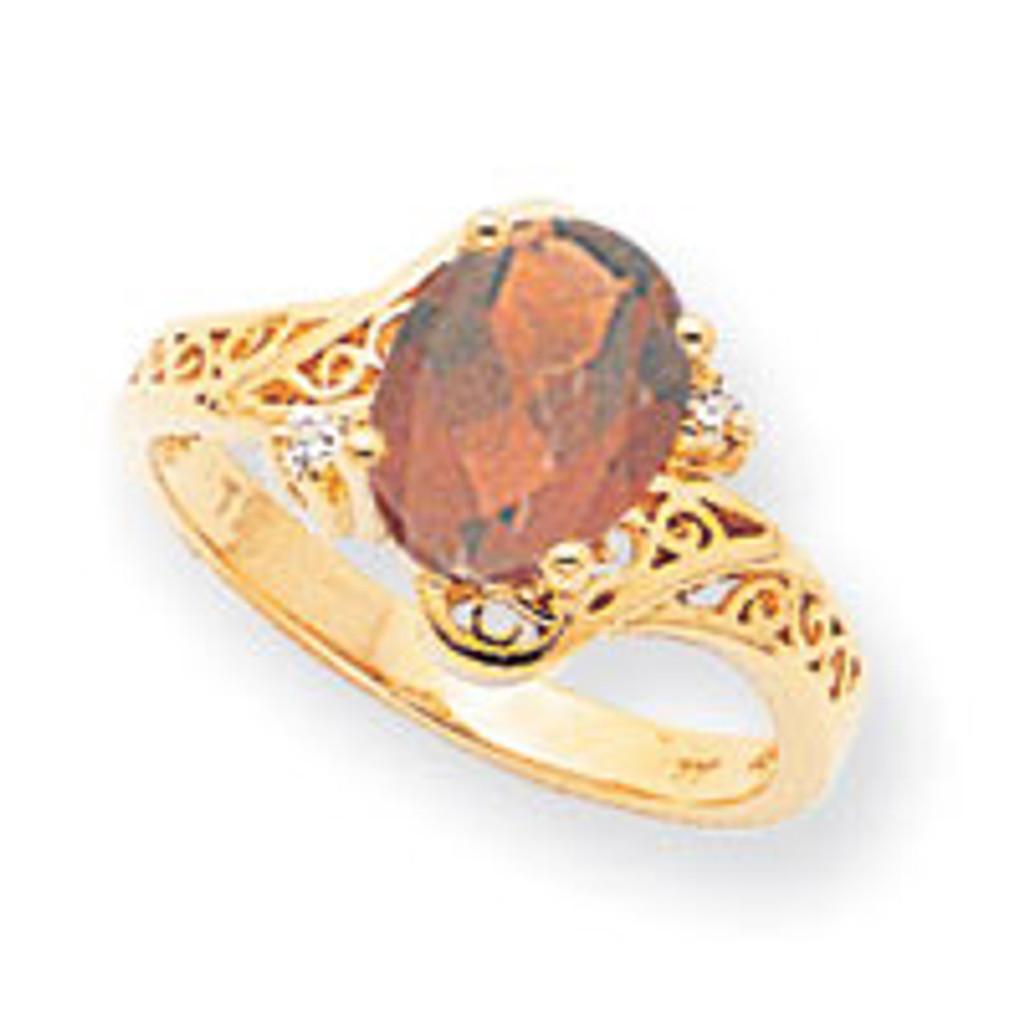 0.04ct. Diamond & 9x7 Oval Gemstone Filigree Ring Mounting 14k Gold Polished X6107