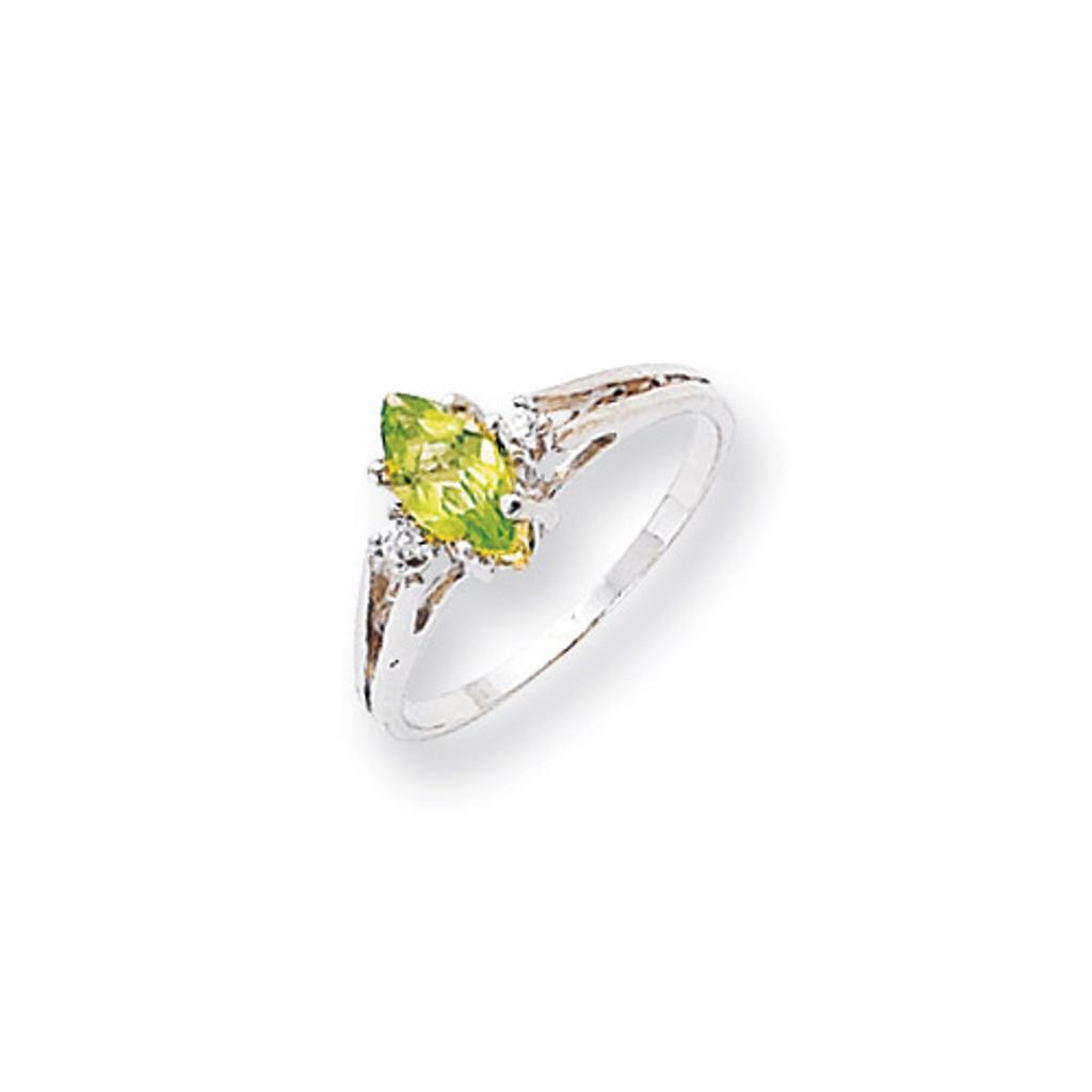 0.05ct. Diamond & 8x4 Marquise Gemstone Ring Mounti 14k White Gold X9671