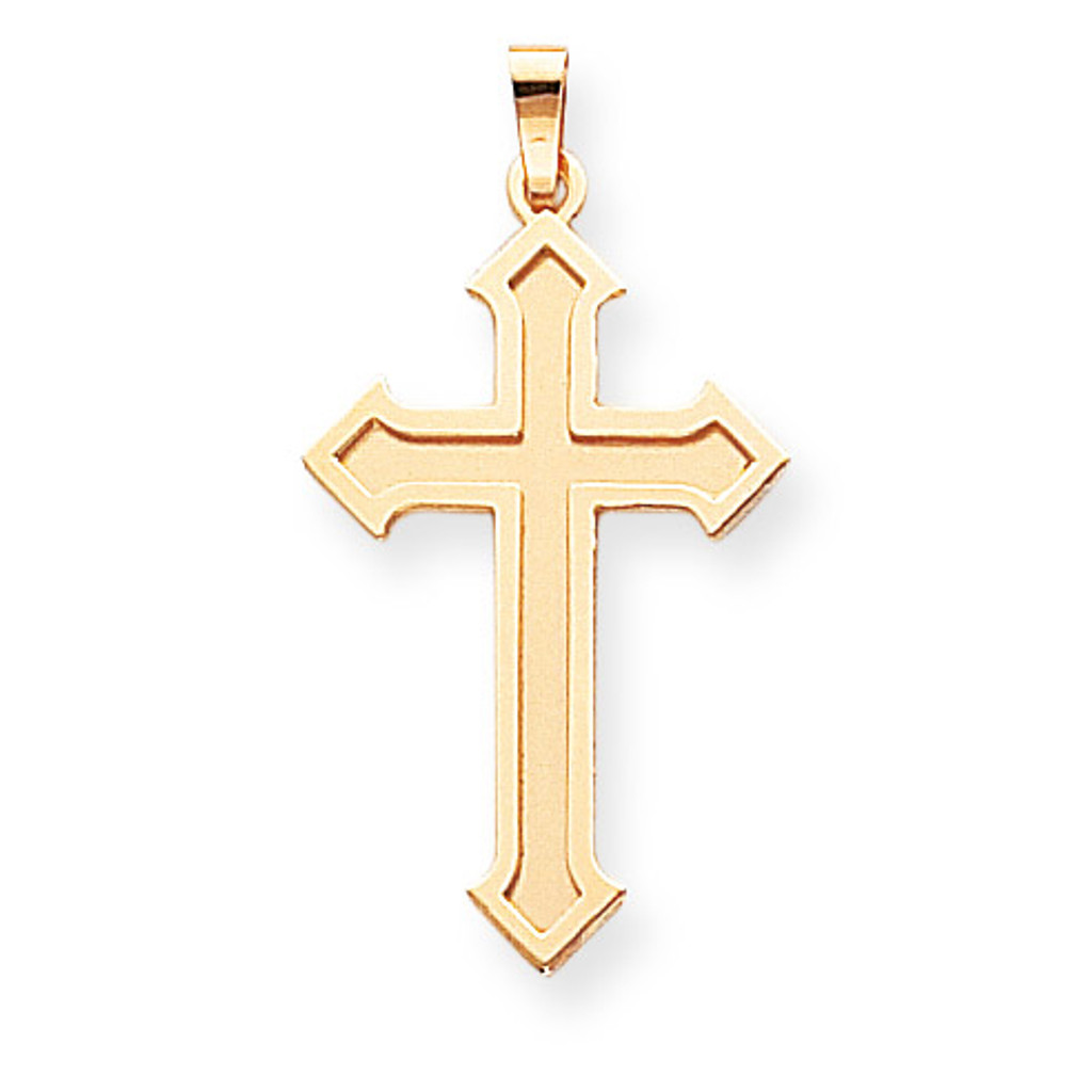 14k Yellow Gold Satin Passion Cross Pendant