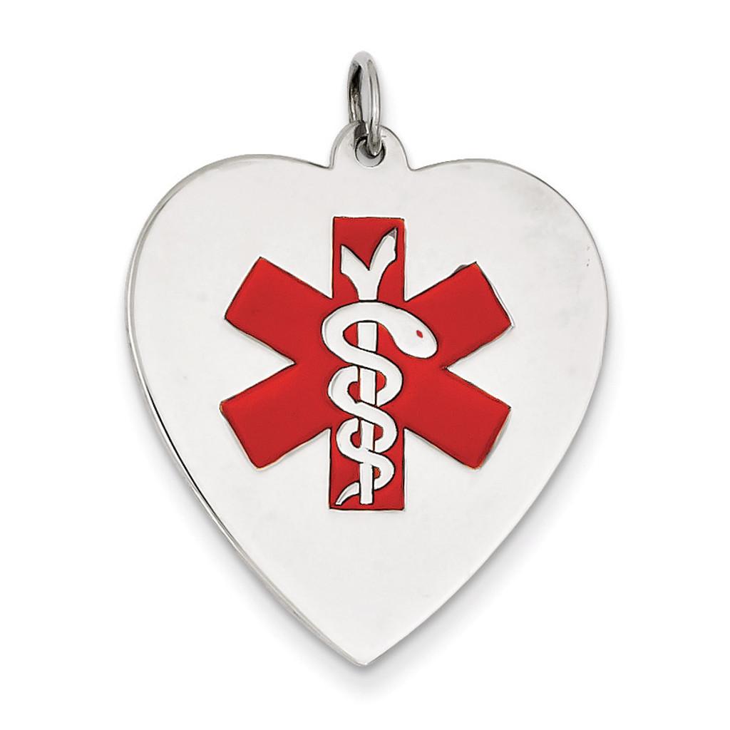 Heart-Shaped Polished Enameled Engravable Medical Jewelry P 14k White Gold XM466