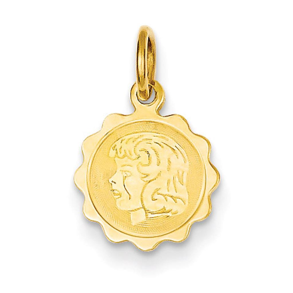 Girl Head on .009 Gauge Engravable Scalloped Disc Charm 14k Gold XM66/09