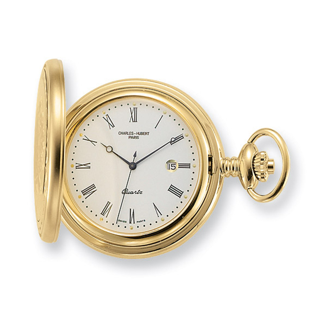 Charles Hubert Gold Finish Off-White Dial with Date Pocket Watch XWA1033