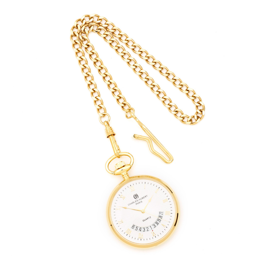 Charles Hubert Gold Finish White Dial Gold Pocket Watch XWA840