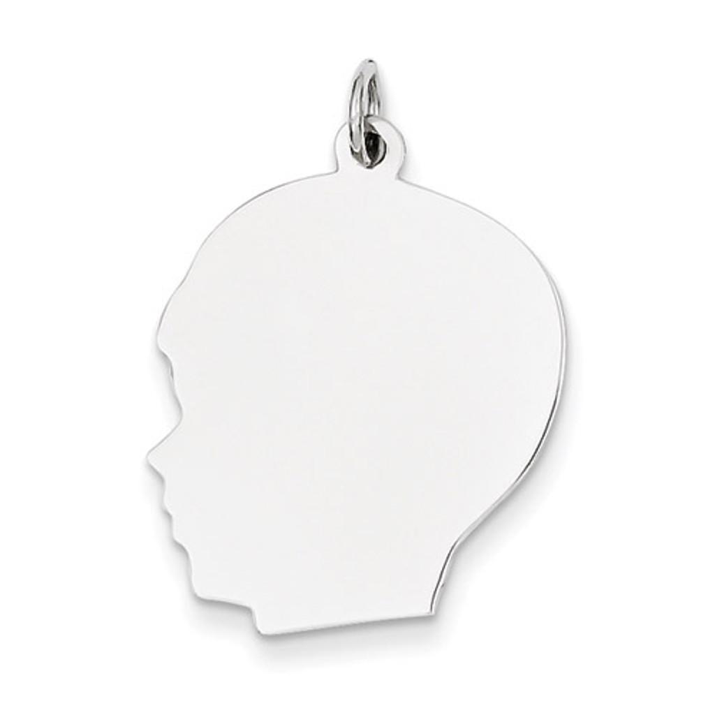 Plain Large Facing Left Engravable Boy Charm 14k White Gold XWM67/18