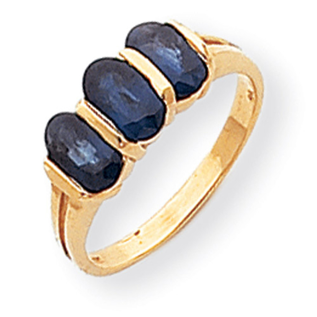 3-stone 6x4 Oval Gemstone Ring Mounting 14k Gold Polished Y2034