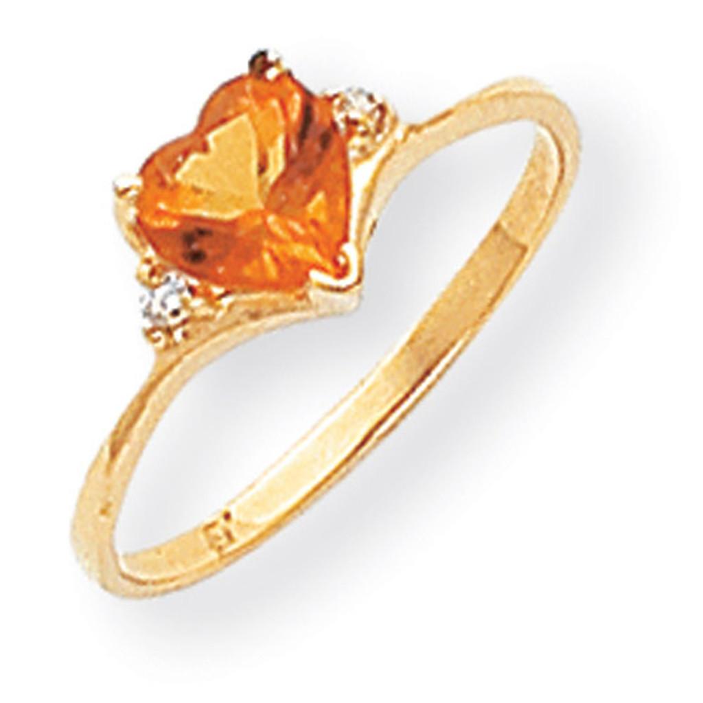 0.03ct. Diamond & 6mm Heart Gemstone Ring Mounting 14k Gold Polished Y2185