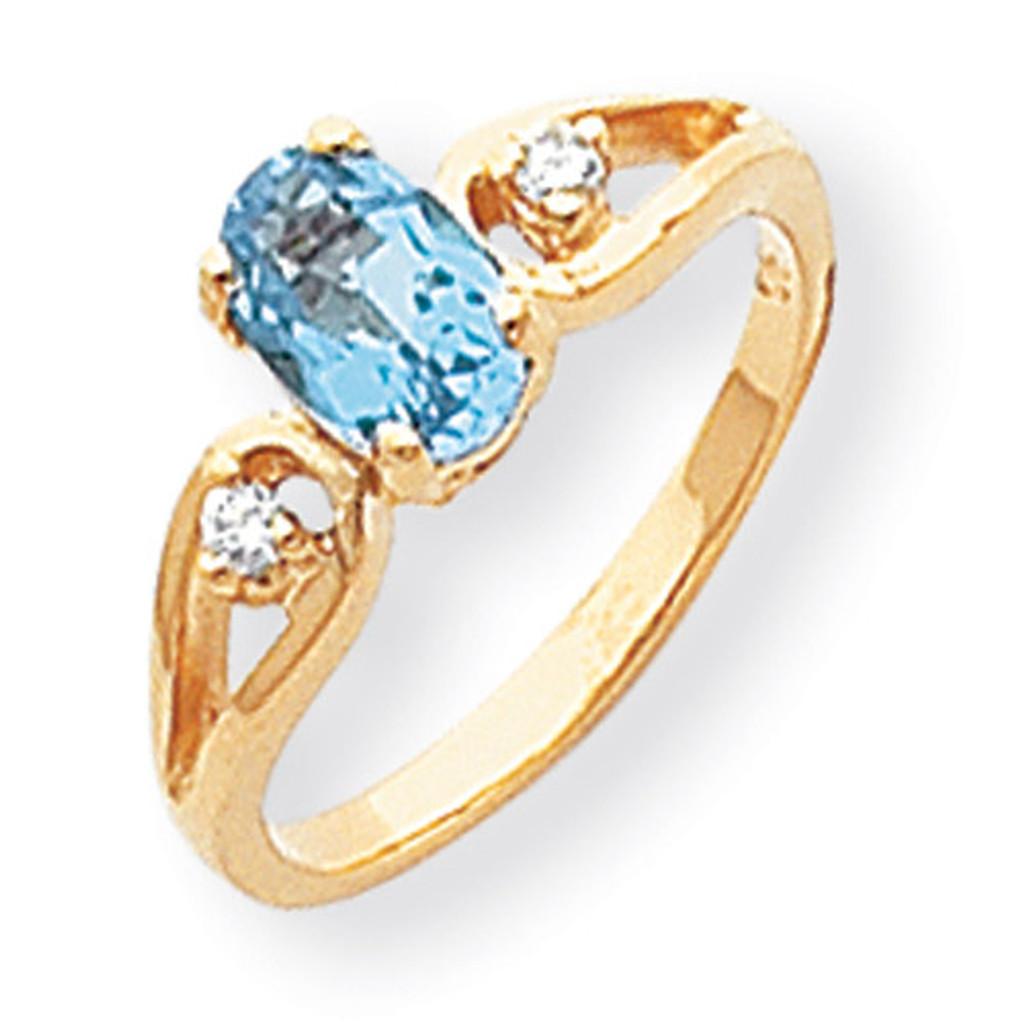 0.05ct. Diamond & 7x5 Oval Gemstone Ring Mounting 14k Gold Polished Y2189