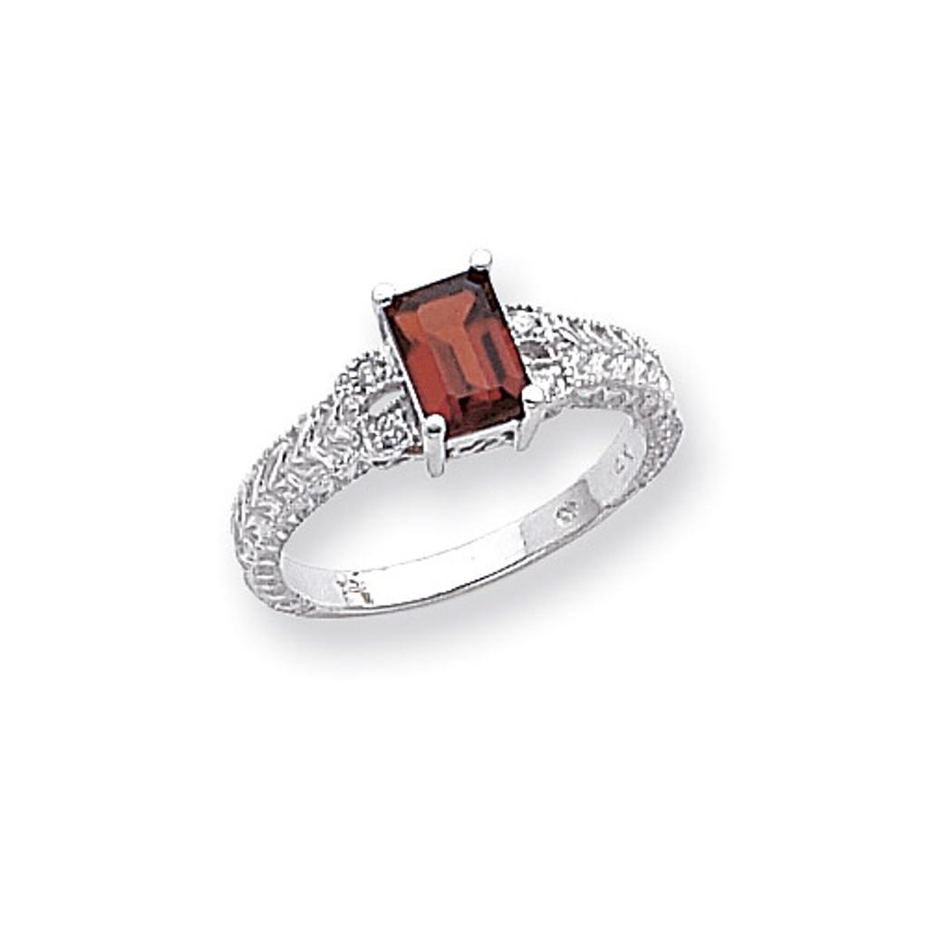 0.04ct. Diamond & 7x5 Gemstone Ring Mounting 14k White Gold Y2266