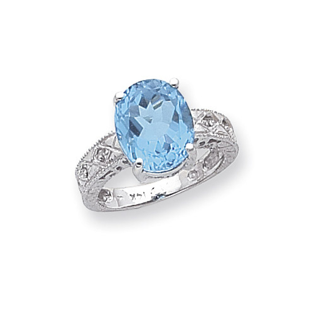 0.02ct. Diamond & 12x10 Oval Gemstone Ring Mounting 14k White Gold Y2271