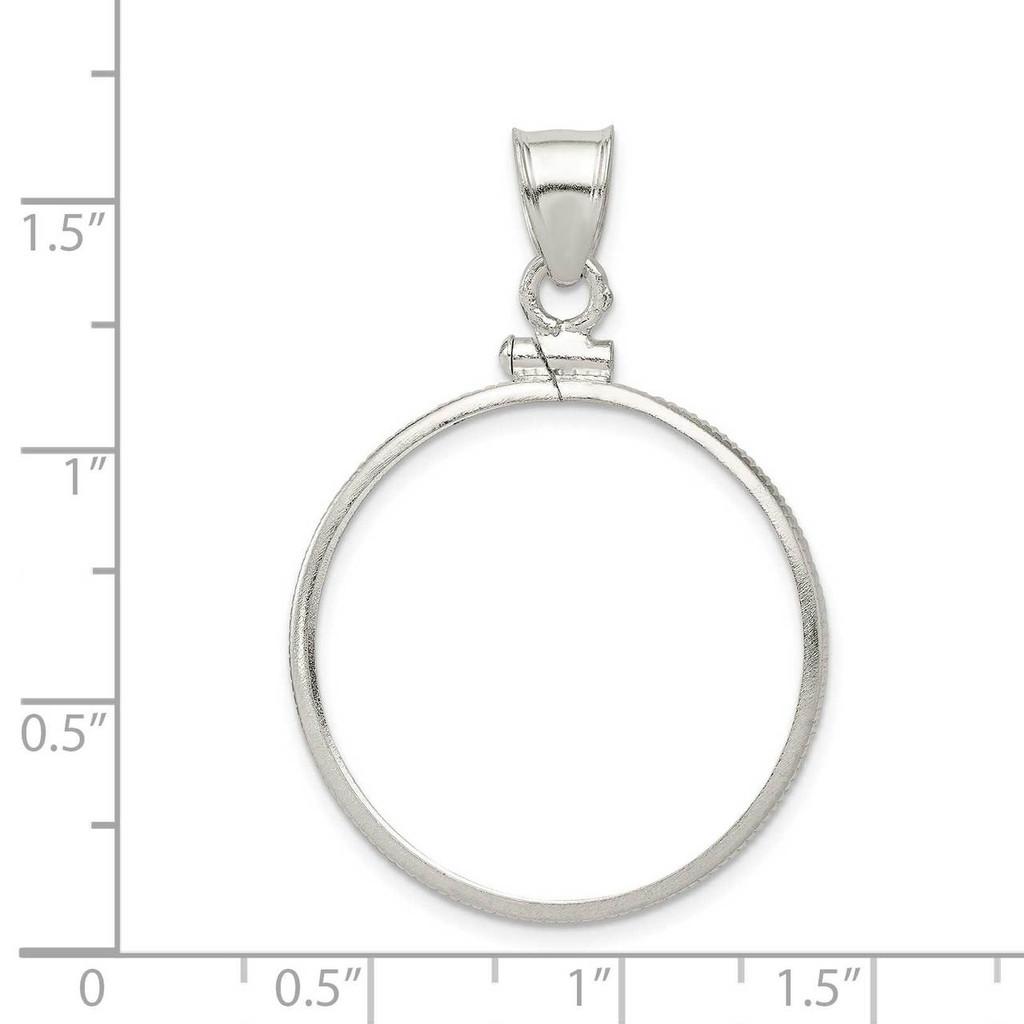 26.4 x 1.8mm Susan B. Anthony Plain Coin Bezel Pendant Sterling Silver QBP6