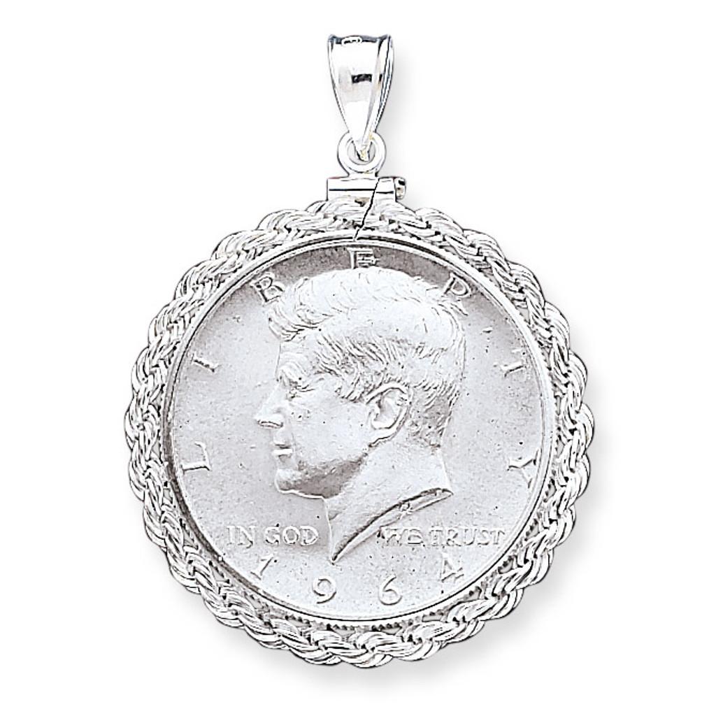 Sterling Silver 30.5 x 2.1mm $0.50 Diamond Cut Coin Bezel Pendant