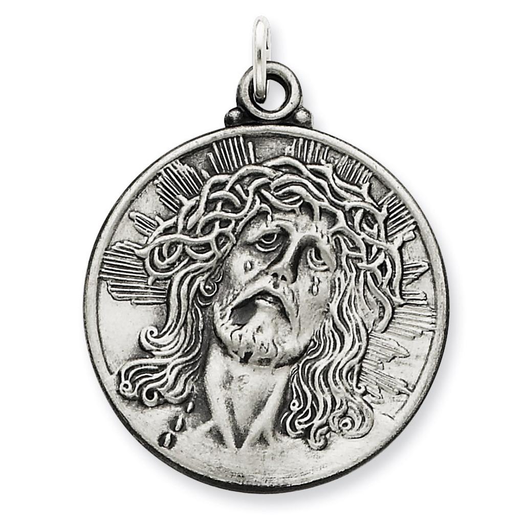 Ecce Homo Medal Antiqued Sterling Silver MPN: QC3444