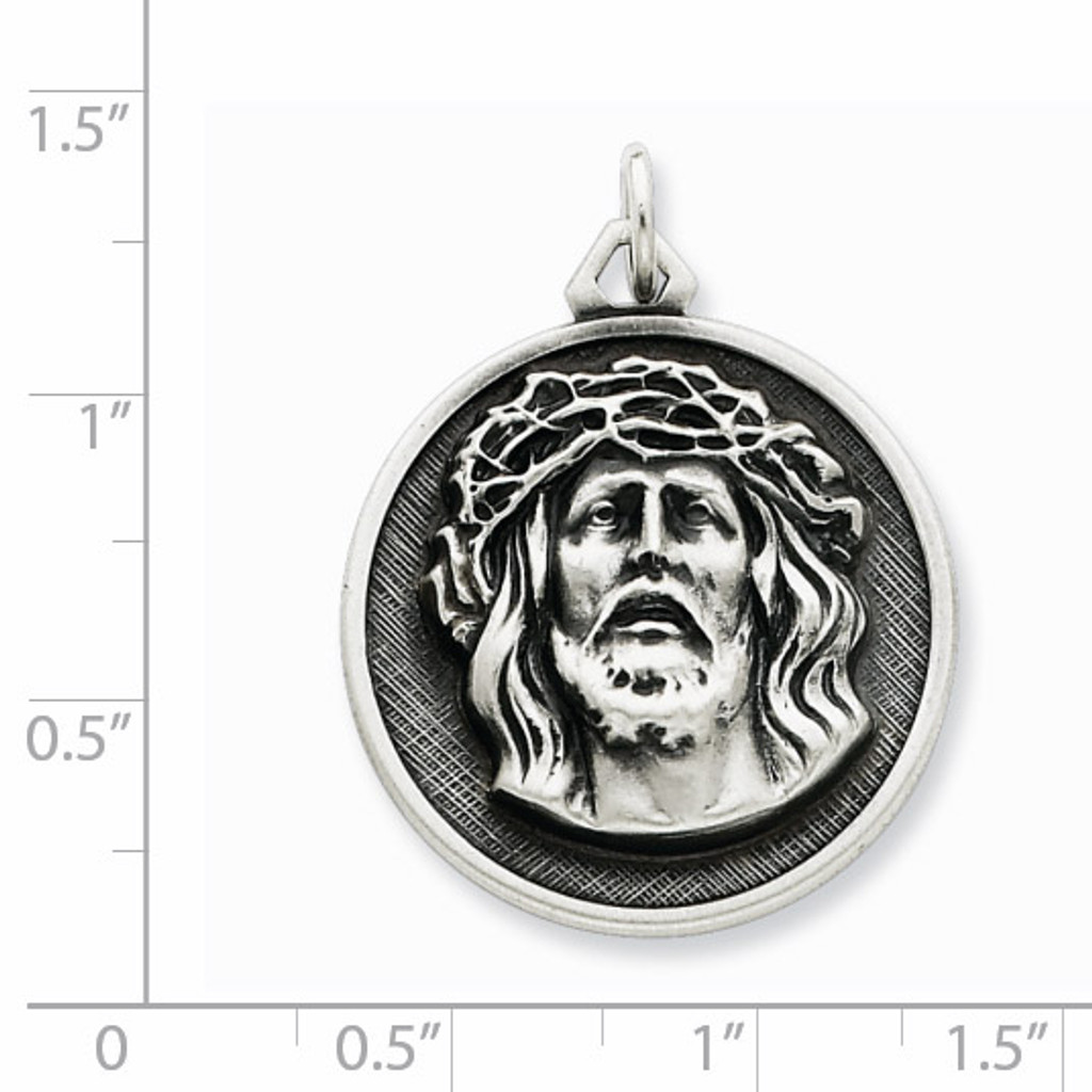 Ecce Homo Medal Antiqued Sterling Silver QC3449
