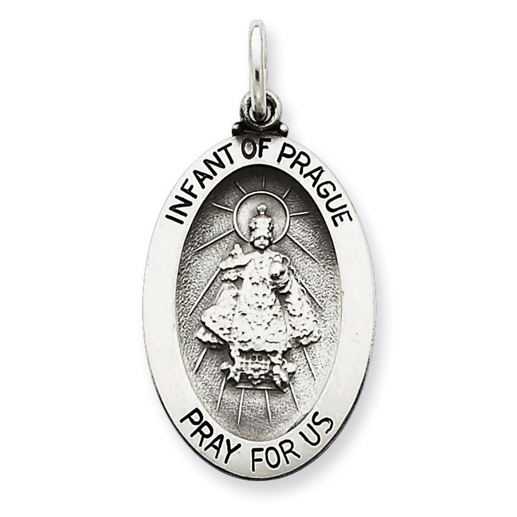 Infant of Prague Medal Antiqued Sterling Silver MPN: QC3450