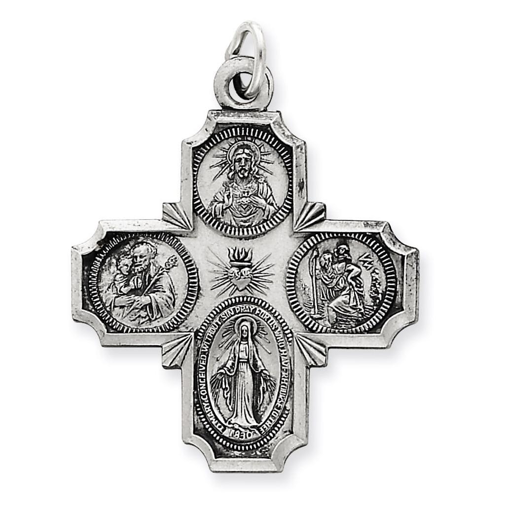 4-way Medal Antiqued Sterling Silver MPN: QC3471