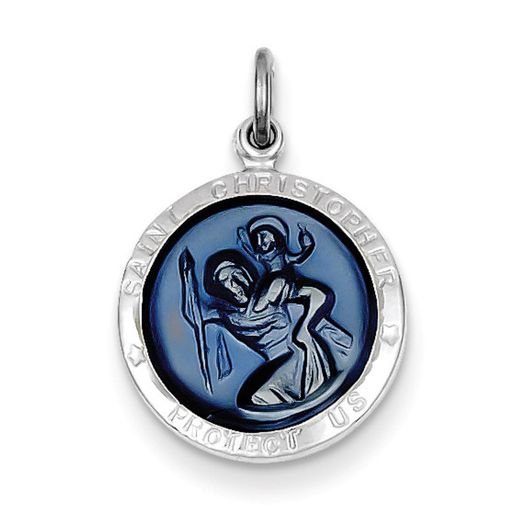 Blue Epoxy Saint Christopher Medal Sterling Silver MPN: QC3532