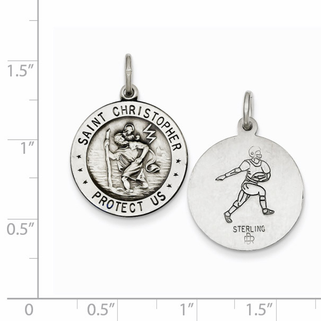 Saint Christopher Football Medal Sterling Silver QC3573