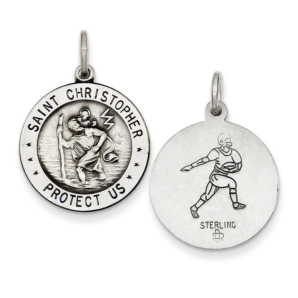 Saint Christopher Football Medal Sterling Silver MPN: QC3573