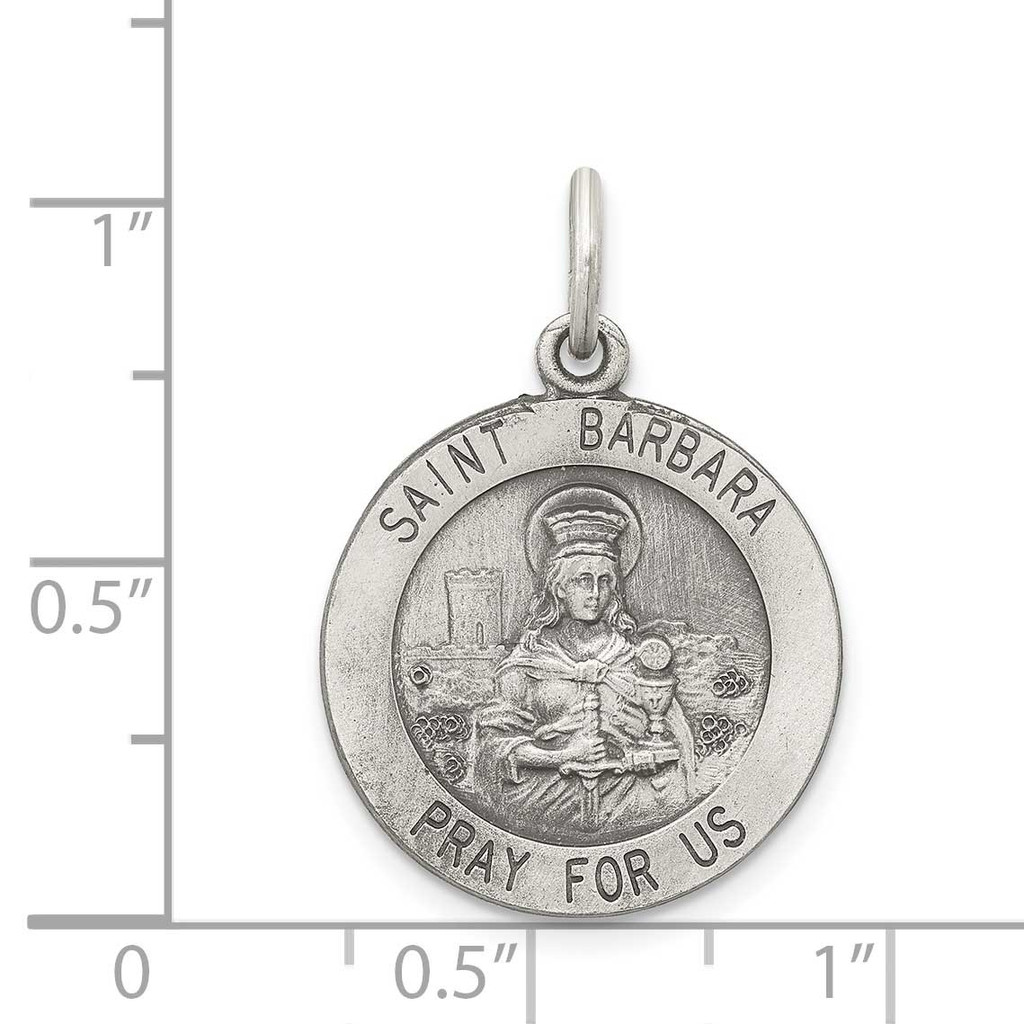 Saint Barbara Medal Sterling Silver QC3584