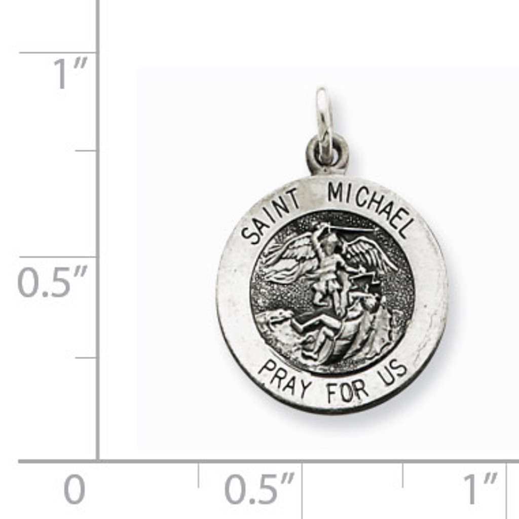 Saint Michael Medal Antiqued Sterling Silver QC3608