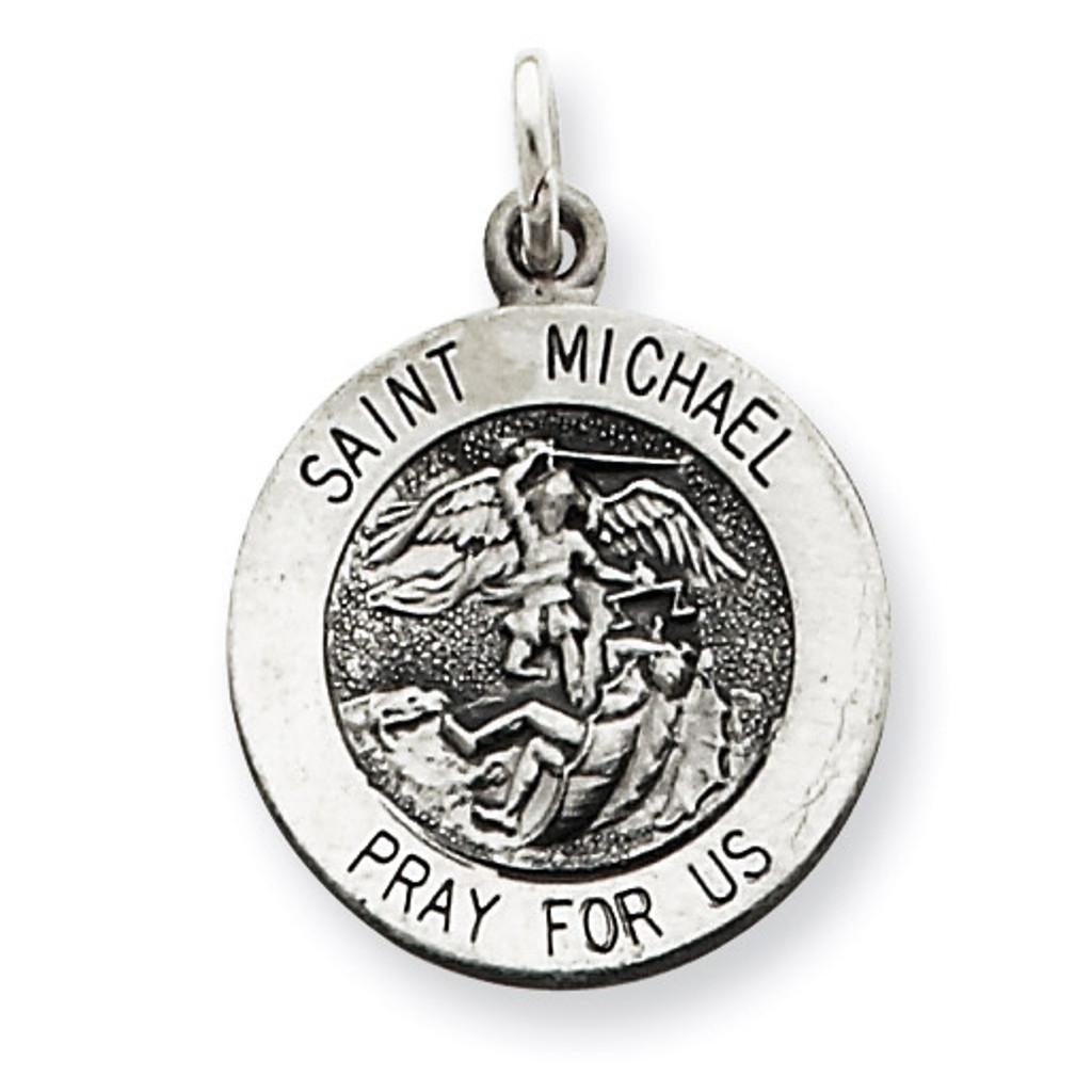 Saint Michael Medal Antiqued Sterling Silver MPN: QC3608