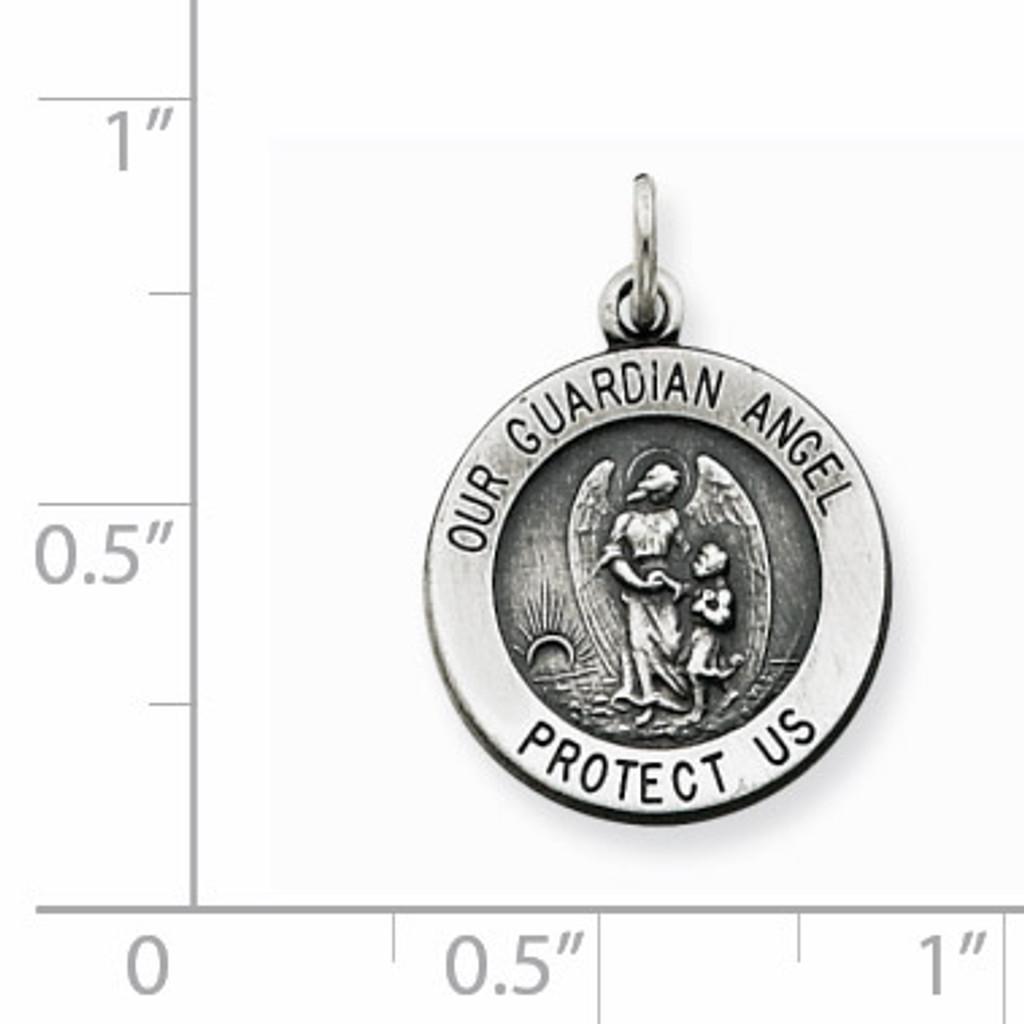 Guardian Angel Medal Antiqued Sterling Silver QC3625