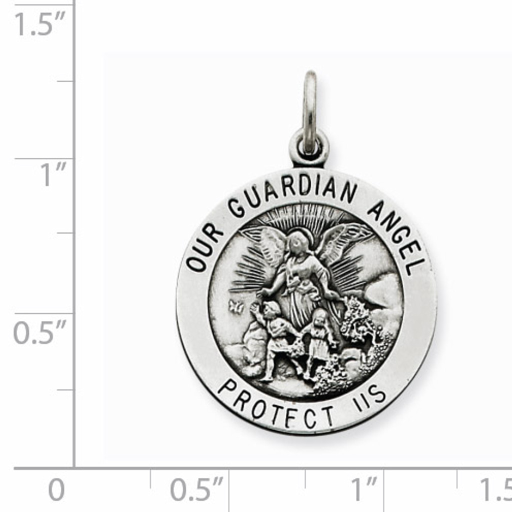 Guardian Angel Medal Antiqued Sterling Silver QC3627