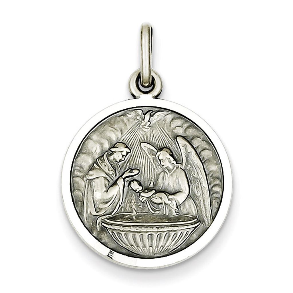 Baptism Medal Sterling Silver MPN: QC3669