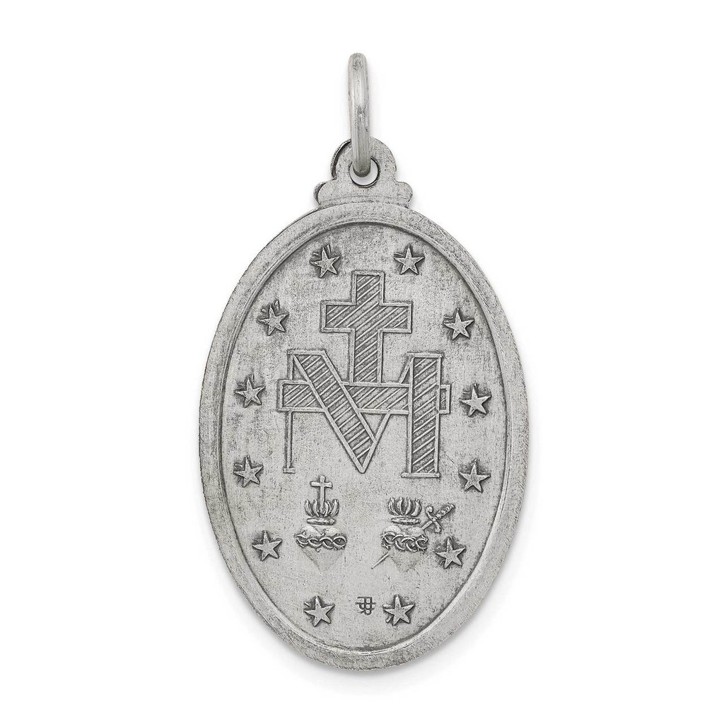 Miraculous Medal Antiqued Sterling Silver QC445