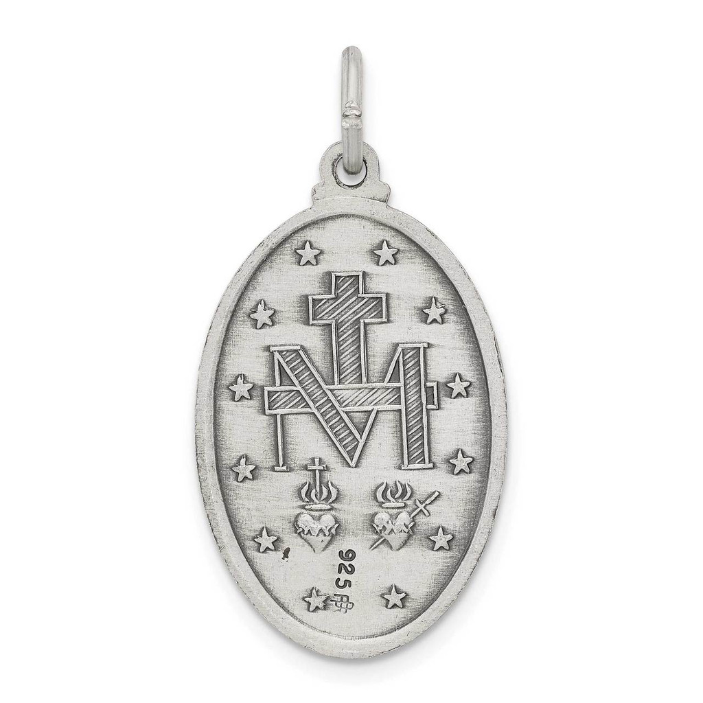 Miraculous Medal Antiqued Sterling Silver QC457