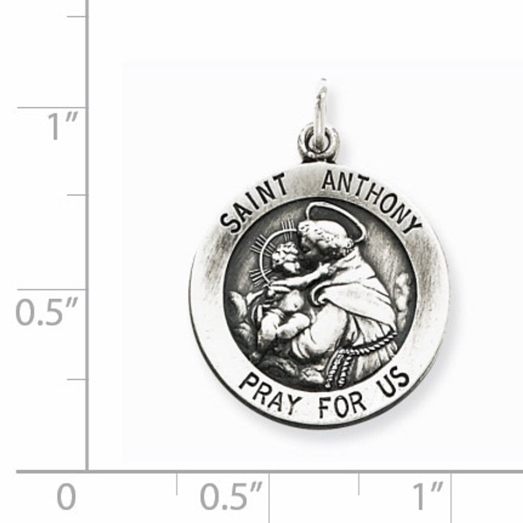 Saint Anthony Medal Antiqued Sterling Silver QC461