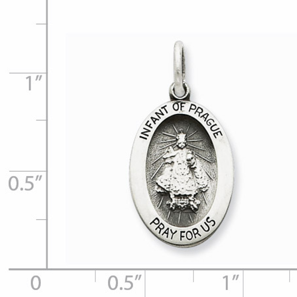 Infant of Prague Medal Antiqued Sterling Silver QC5491