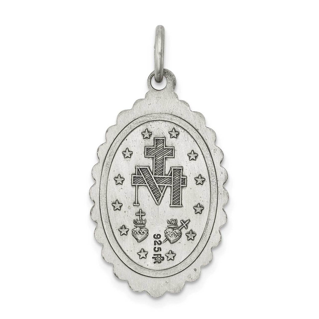 Miraculous Medal Antiqued Sterling Silver QC5511