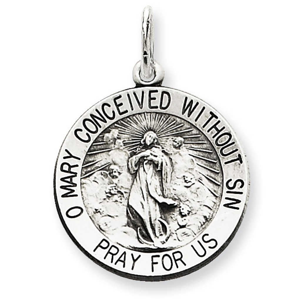 Blessed Mother Medal Antiqued Sterling Silver MPN: QC5591