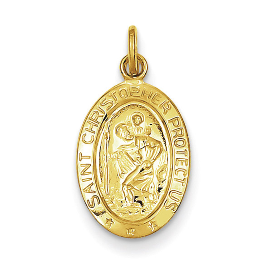 Saint Christopher Medal 24k Gold-plated Sterling Silver MPN: QC5626