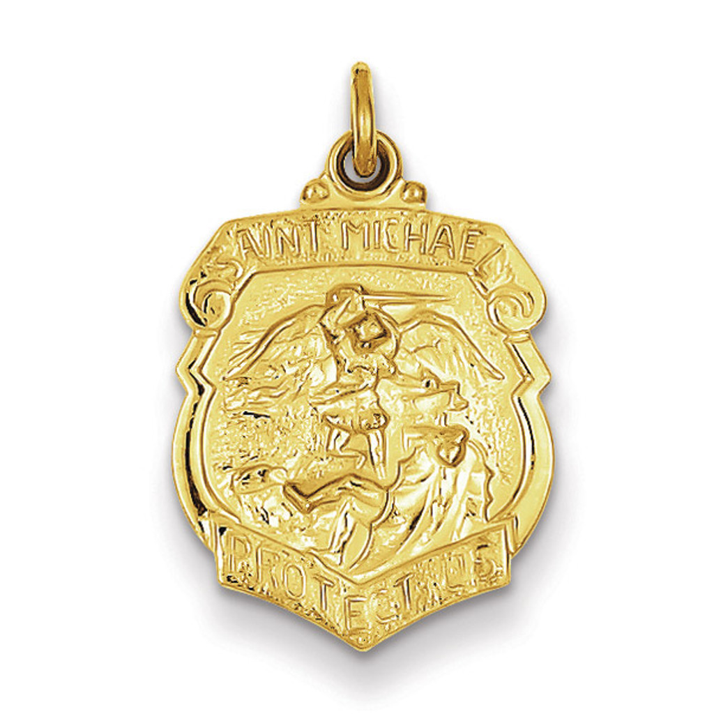 Saint Michael Badge Medal 24k Gold-plated Sterling Silver MPN: QC5650