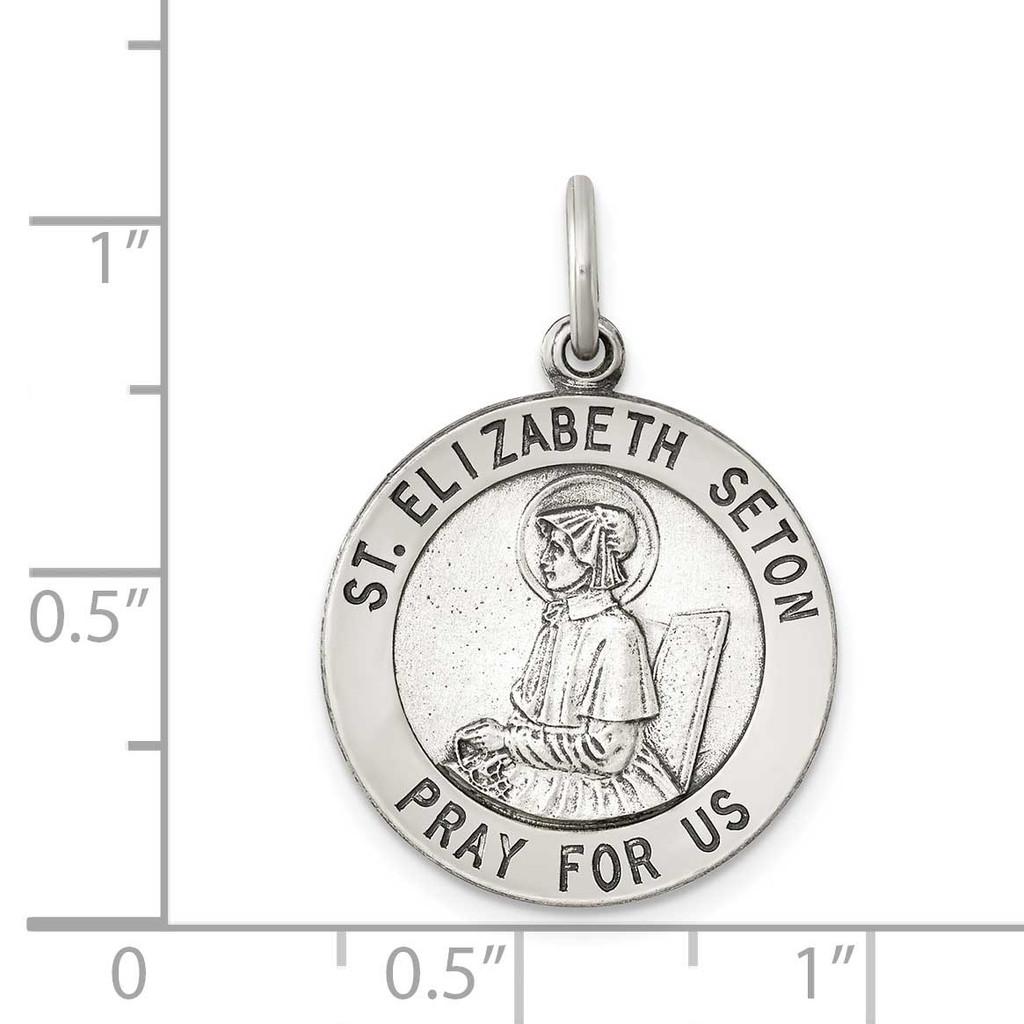 Saint Elizabeth Seton Medal Antiqued Sterling Silver QC5716