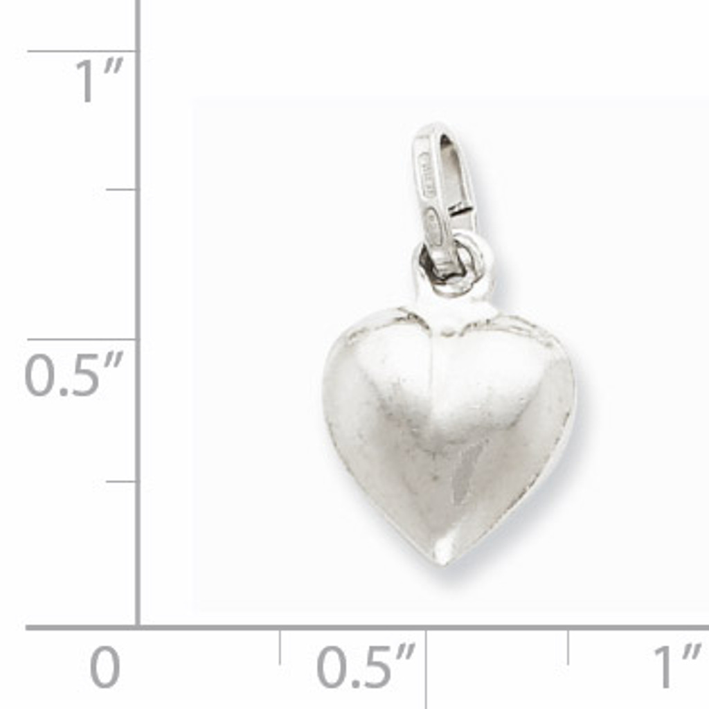 Puffed Heart Charm Sterling Silver QC5975