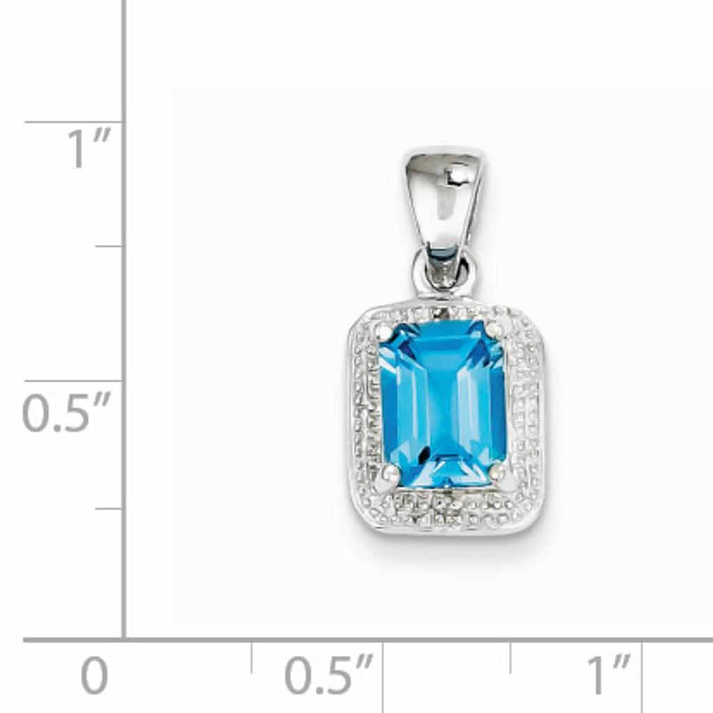 Emerald-cut Lt Sw Blue Topaz & Diamond Pendant Sterling Silver QDX539