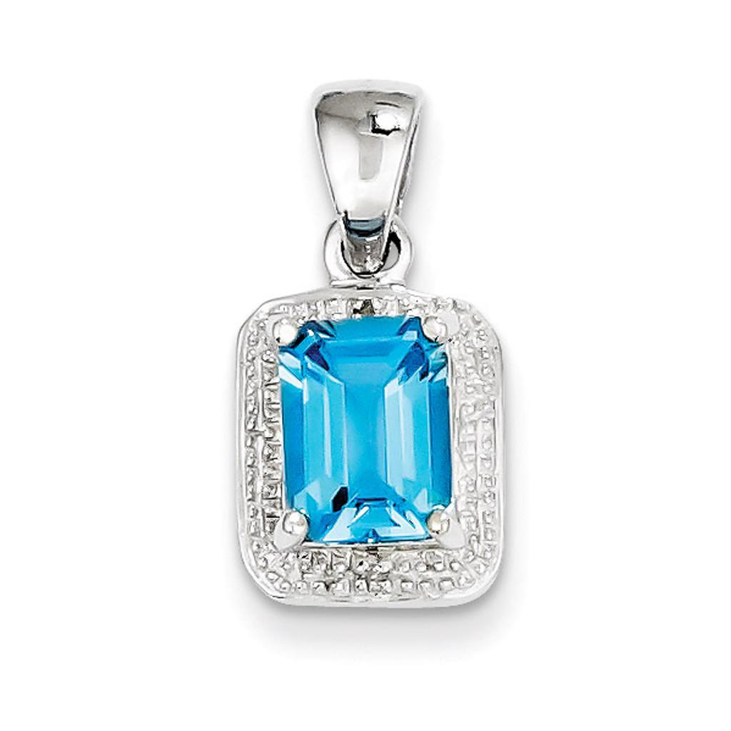 Emerald-cut Lt Sw Blue Topaz & Diamond Pendant Sterling Silver MPN: QDX539