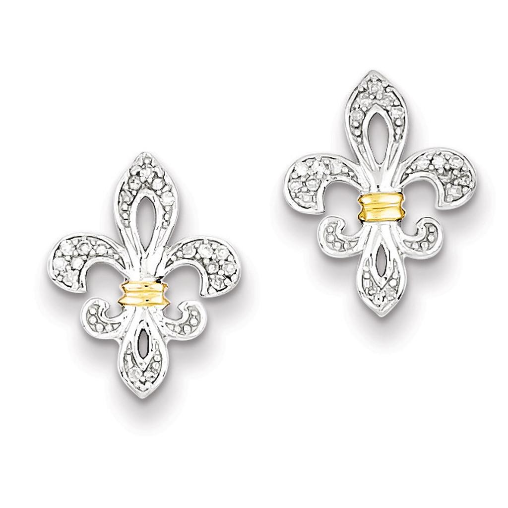 3fa6a7518 14k Yellow Gold Diamonds Fleur de Lis Post Earrings Sterling Silver MPN:  QE10431