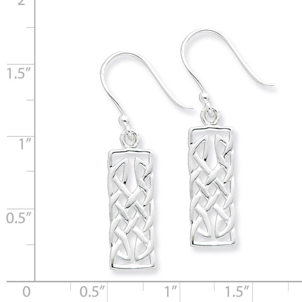 Rectangular Dangle Earrings Sterling Silver Polished QE6945