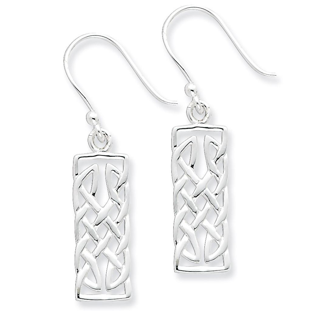 Rectangular Dangle Earrings Sterling Silver Polished MPN: QE6945