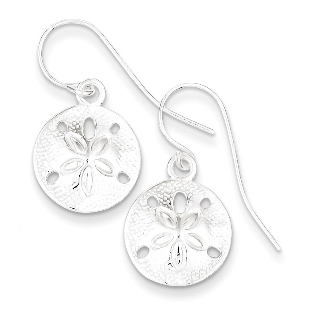 Textured Sand Dollar Dangle Earrings Sterling Silver Polished MPN: QE6958